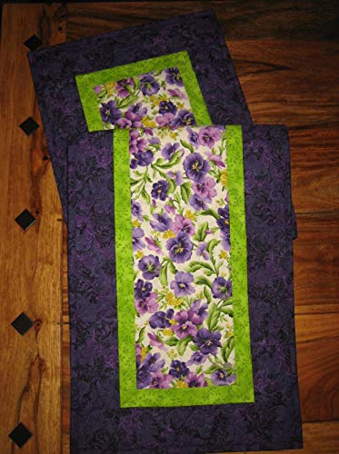 48 Sideboard (Purple Yellow Pansies Quilted Table Runner, 13x48