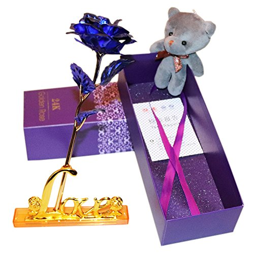 tifully Gift Box - 24K Gold Foil Rose Artificial Flowers Home Decor/Plush Bear,Best Gift for Mother's/Teachers' Day,Wedding,Birthday,Christmas,Thanksgiving(Blue) ()