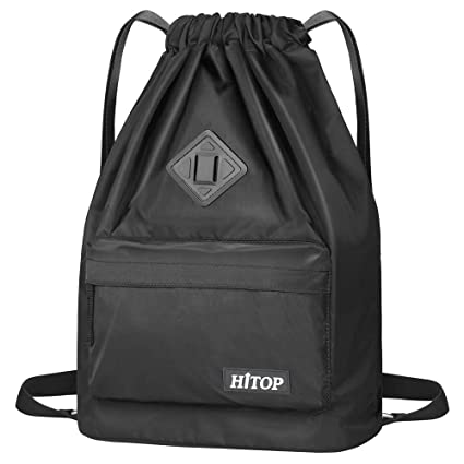 fb22e23c4dfb HITOP Drawstring Backpack, Waterproof Snow Resistant Lightweight Sport Gym  Bag For Men and Women (Black)