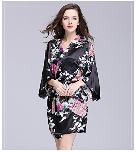 9e2bf66b65 Daiwenwo Women Bath Robe Summer Faux Silk Floral Lady Bathrobe Female  Nightwear Sleep Kimono WP065 at Amazon Women s Clothing store