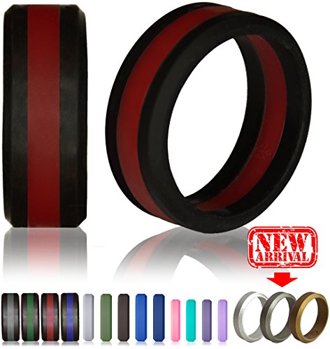 Silicone Wedding Ring by Knot Theory (Black / Red Line, Size 9.5-10) ★8mm Band for Superior Comfort, Style, and (Red Wedding Ring)