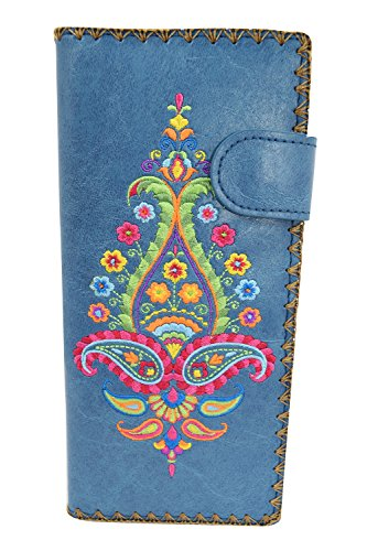 - Lavishy Colorful Bouquet Floral Embroidery Bifold Wallet (Blue)