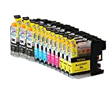 12 Pack - Compatible Ink Cartridges for Brother LC-103 LC-101 LC-103XL LC-103BK LC-103C LC-103M LC-103Y Inkjet Cartridge Compatible With Brother DCP-J152W MFC-J245 MFC-J285DW MFC-J4310DW MFC-J4410DW MFC-J450DW MFC-J4510DW MFC-J4610DW MFC-J470DW
