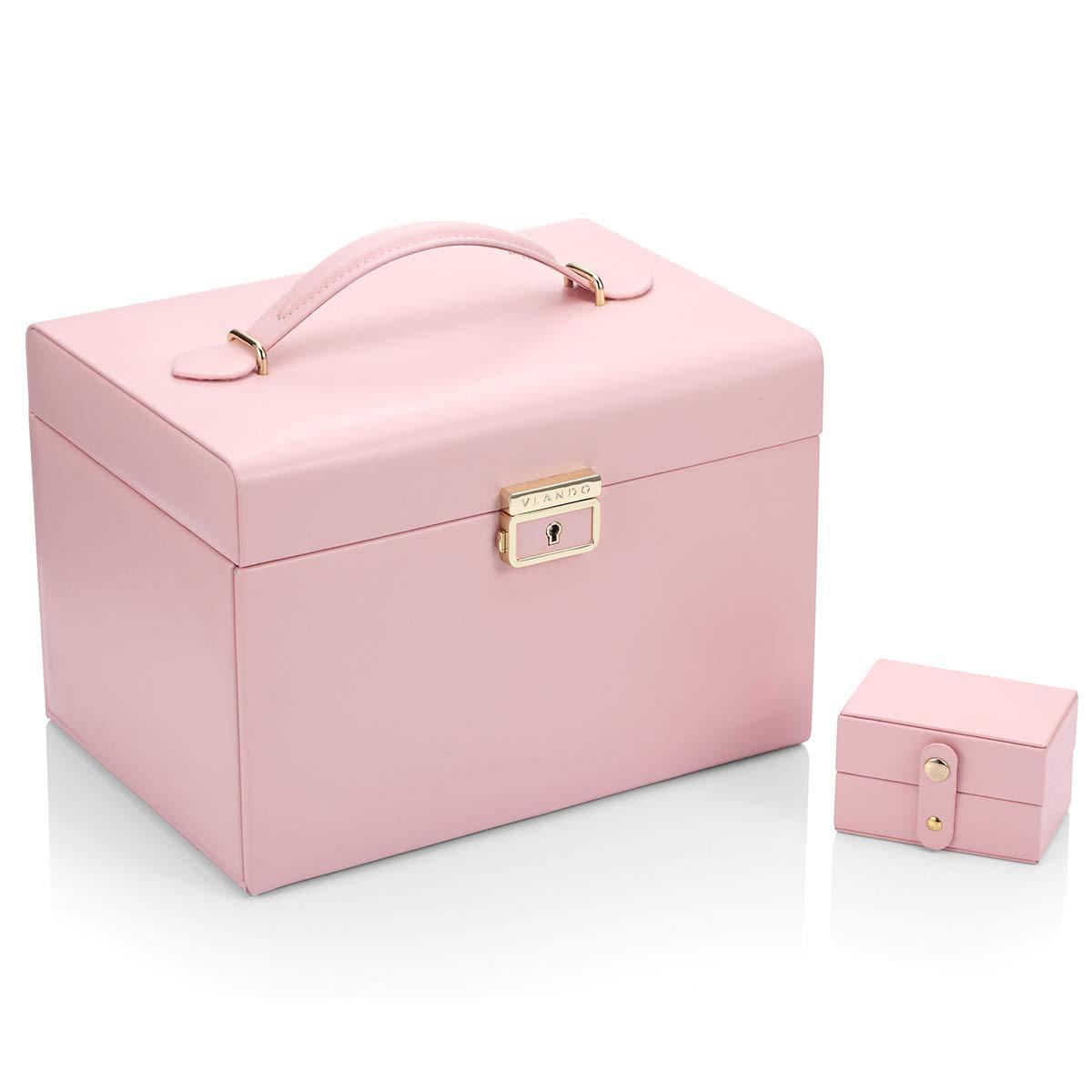 Vlando Women Jewelry Box Organizer, Vintage Gift Case (Pink)...