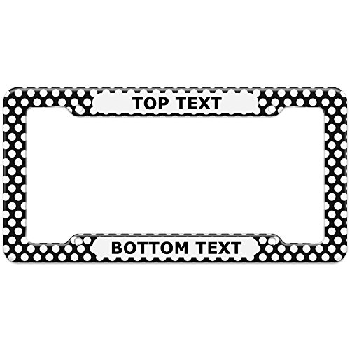 Graphics and More Personalized Custom Polka Dots Black White Pattern Black Text on White License Plate Frame