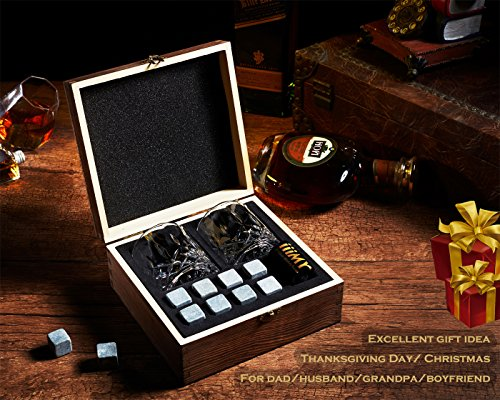 iiiMY Whiskey Stones and Glasses Gift Set, Whiskey Rocks Chilling Stones in Premium Handmade Wooden Box¨C Cool Drinks without Dilution ¨C Whiskey Glasses Set of 2, Gift for Dad, Husband, Men by iiiMY (Image #1)