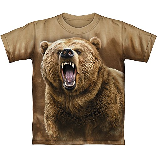 Price comparison product image Grizzly Bear Brown Tie-Dye Youth Tee Shirt (Kids Medium)