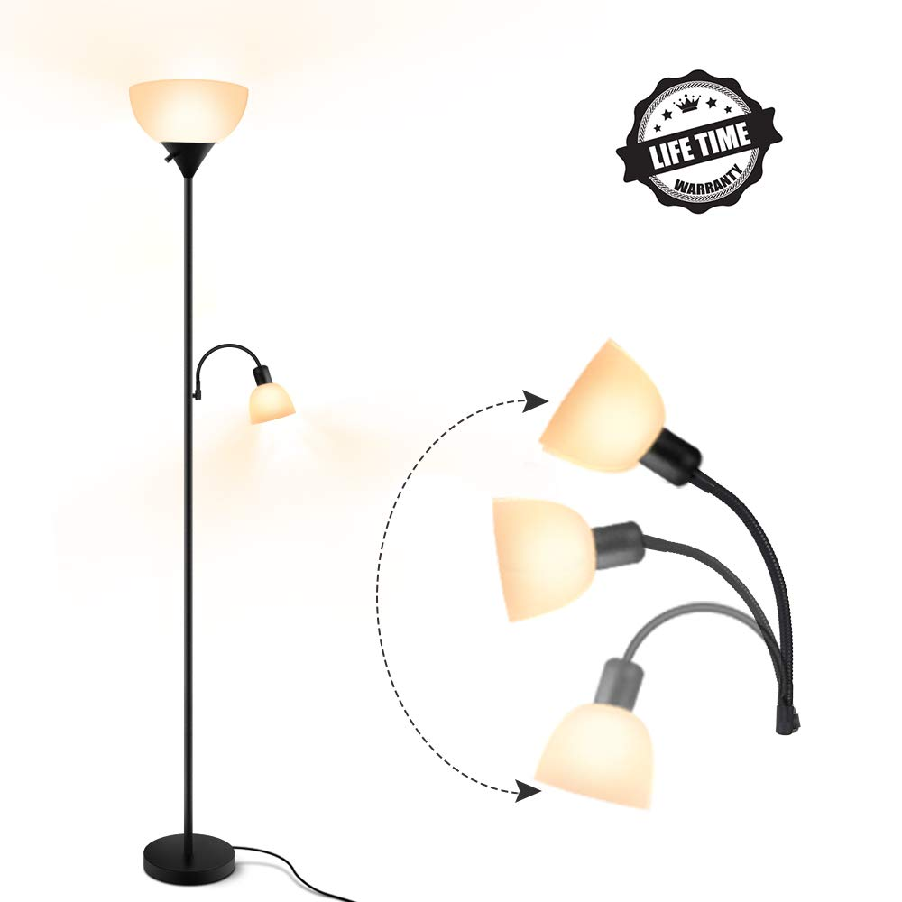 Floor Lamp, Modern Standing Uplight, 9W+4W Energy Saving LED Bulbs, with Adjustable Reading Light, 3000K Warm White, Torchiere LED Floor Lamps for Living Room, Bedroom, Office, Working, Reading