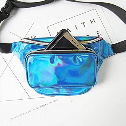 Flada Holographic Fanny Pack Laser Pack Bumbag Perfect for Hiking and Festivals