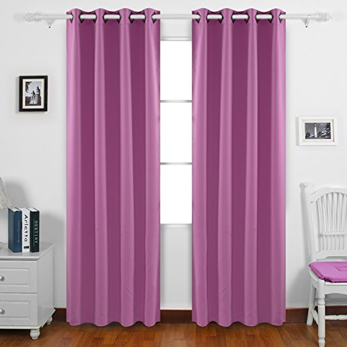Deconovo Home Decoration Blackout Curtains Thermal Insulated Curtains Grommet Top Room Darkening Shades Curtains for Living Room 52W x 84L Inch Fuchsia Pink 2 Panels (Pink Living Room)