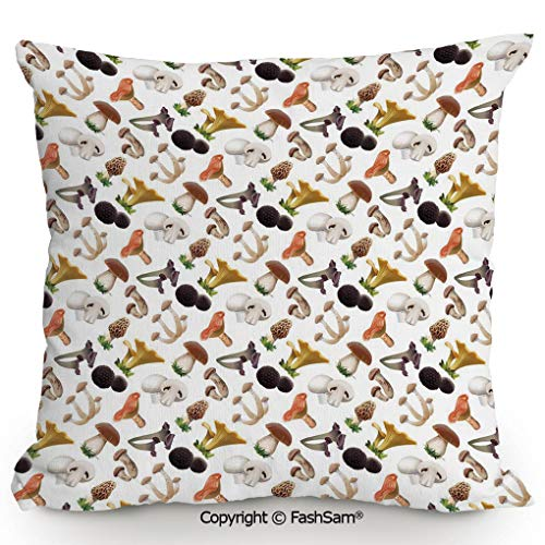 - FashSam Throw Pillow Covers Realistic Style Various Kinds of Fresh Toadstools Truffles Natural Lifestyle Cook Decorative for Couch Sofa Home Decor(24