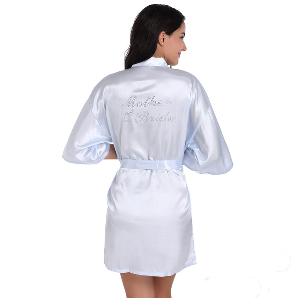 WYSMOL Mother of The Bride Crystal Dressing Gowns Satin Kimono Robe ZHYH02P0132
