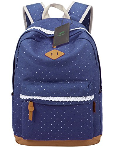 Mygreen Lightweight Canvas School Backpack for Girls Boys for Middle School Cute Bookbag Outdoor Travel Daypack -