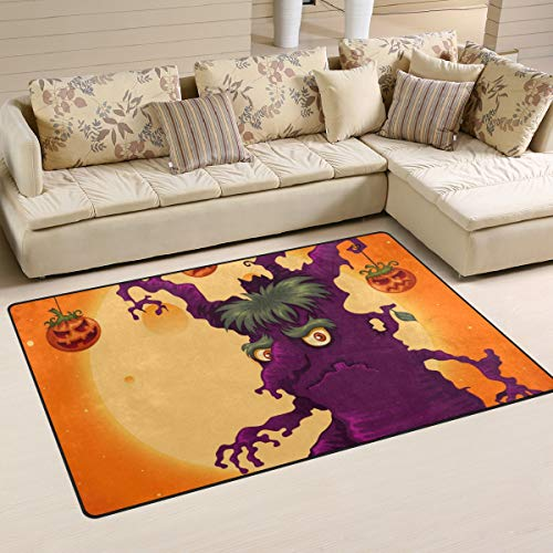 Top Carpenter Spooky Halloween Tree Area Rug Pad Dining Room Bedroom 5'x3' -