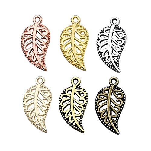 (iloveDIYbeads 210pcs Craft Supplies Mixed Small Hollow Filigree Leaf Charms Pendants for Crafting, Jewelry Findings Making Accessory for DIY Necklace Bracelet M192)