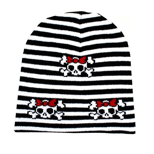 Black and White Striped Beanie with Skull and Crossbones with Red Bow