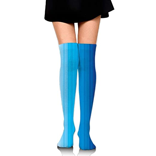 e5bdf352aa5a4 Image Unavailable. Image not available for. Color: ZOZGETU Long Socks  Abstract Vertical Striped Pattern Light Dark Blue Tones Serene Women's  Fashion Over ...