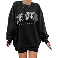 Kaxindeb Women's Los Angeles California Sweatshirt Oversized Bat Long Sleeve Crewneck Pullover