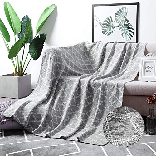 MoMA 100% Cotton Light Grey Cable Knit Throw Blanket for Couch Bed Sofa Chair, Gray White Stripe Reversible Decorative Knitted Blankets,51