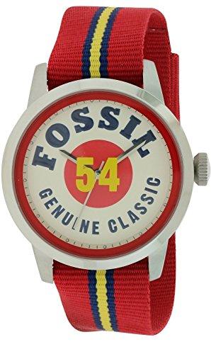 Fossil Townsman White Dial Red Nylon Mens Watch FS4922