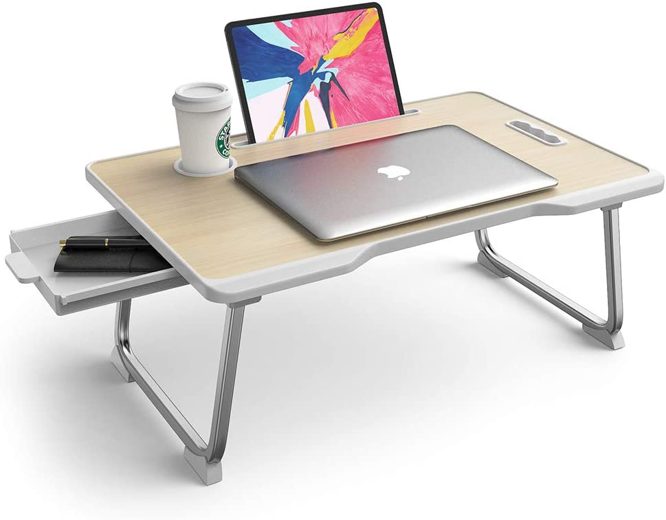 Elekin Folding Standing Laptop Desk Multi-Function Laptop Bed Table Stand Lap Desk with Handle/Drawer/Cup Holder for Bed Sofa