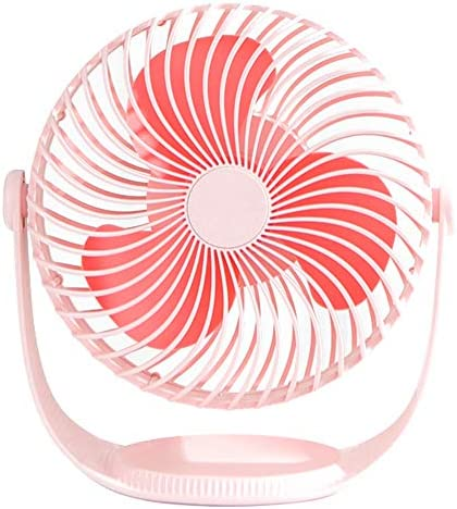 SAYTAY 7 Portable Desk Fan 360 Rotation 3 Speeds Adjustable USB Mini Table Fan with Storage Tray 2000mAh Rechargeable Ultra Quiet Cooling for Office Home Travel Kitchen Desktop Pink