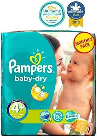Pampers Baby-Dry Tamaño De Pañales 4+ Mensual Del Pack - 152 Pañales: Amazon.es: Hogar