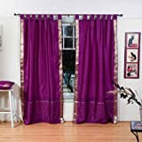 Cheap Indian Selections Lined-Violet Red Tab Top Sheer Sari Curtain/Drape – 80W x 120L – Pair