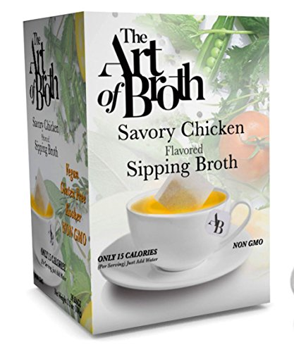 Flavored Broth - The Art of Broth Chicken Broth, Savory Chicken Flavored Sipping Broth Bag, Non-GMO, Vegan, Gluten-Free, Kosher (Pack of 20)