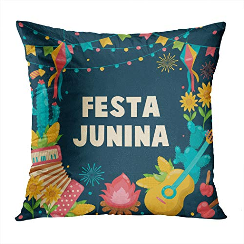 Suike Throw Pillow Cover Hand Drawn Festa Junina Brazil June Hidden Zipper Home Sofa Decorative Cushion Case 20x20 Inch Square Printed Pillowcase ()