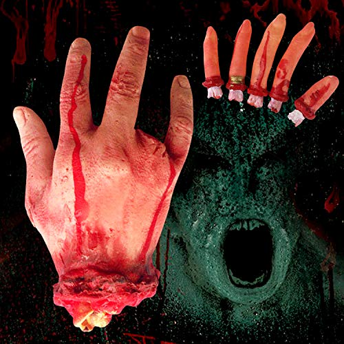 (Fullsexy Bloody Fake Hands, Terror Severed Bloody Fake Fingers and Bloody Fake Human Hands for Halloween Party Props Decorations(1Hand +)