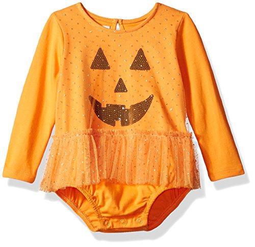 Mud Pie Baby Girls Halloween Mesh Tutu Pumpkin Crawler, Orange, 6-9 Months