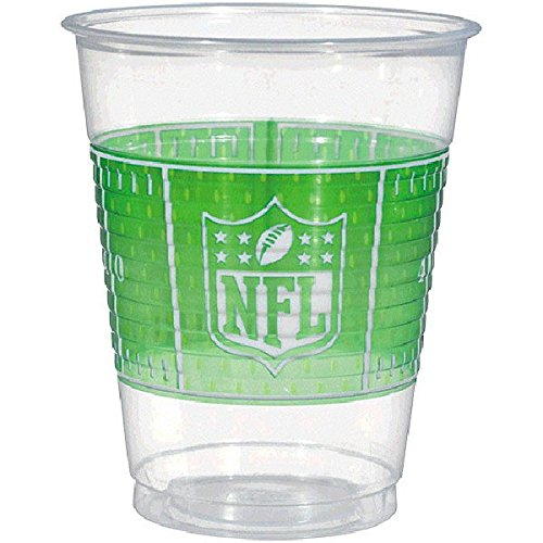 Amscan NFL Drive Birthday Party Plastic Cups (25 Piece), Clear, 12.6 x 3.8