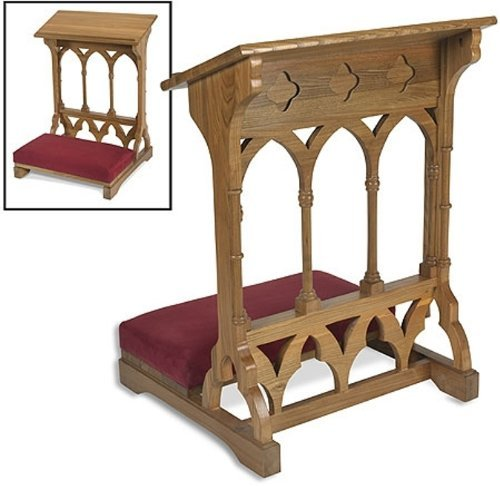 Arches Church - Oakwood Padded Prayer Kneeler Home or Church Altar and Pew Pulpit Meditation Furniture by 1home