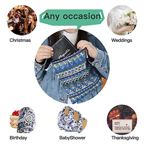 Corciosy Reusable Drawstring Gift Bags,Fabric Packing Storage Burlap Gift Bag Jewelry Pouches Sacks for Wedding Party Shower Birthday Christmas DIY Craft, S - M - Large+ Bonus Gift Tags & String