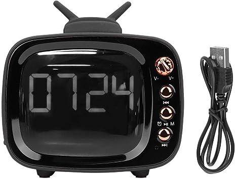 VBESTLIFE Altavoz Bluetooth 5.0, Reloj con Forma de TV Bluetooth Audio Reloj Despertador Doble Mini Radio Altavoz (Negro): Amazon.es: Electrónica