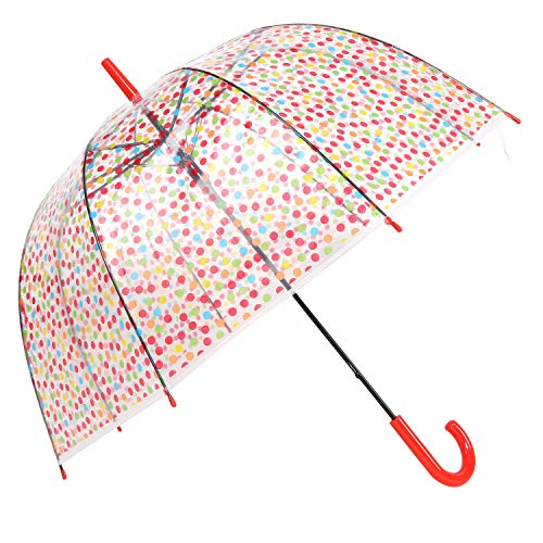 HAOCOO Polka Dot Clear Umbrella,Bubble Transparent Fashion Dome Auto Open Umbrella Windproof for Outdoor Weddings or Events - Dot Dome Polka