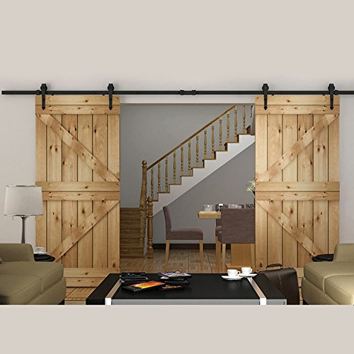 hahaemall 8ft/243,8cm Pfeil Design Schwarz Country Barn Holz Stahl Schiebetür Double Door Hardware Closet Set