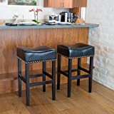 Great Deal Furniture Camilla Black Leather Backless Bar Stools w/Chrome Nailheads (Set of 2) For Sale