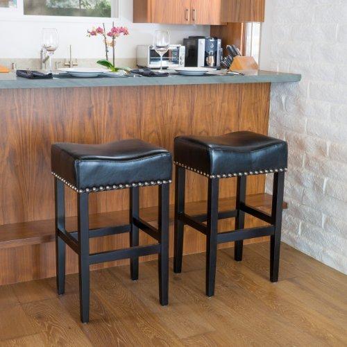 Great Deal Furniture 238552 Camilla Black Leather Backless Bar Stools w/Chrome Nailheads (Set of 2), (Stool Chrome Bar Brass)