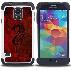 """SAMSUNG Galaxy S5 V / i9600 / SM-G900 - 3 en 1 impreso colorido de Altas Prestaciones PC Funda chaqueta Negro cubierta gel silicona suave (Dragón tribal rojo"""")"""