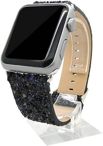 سوار جلدي PU بلنج الفاخر على شكل ساعة اليد للرجال من أبل - 42 ملم - أسود