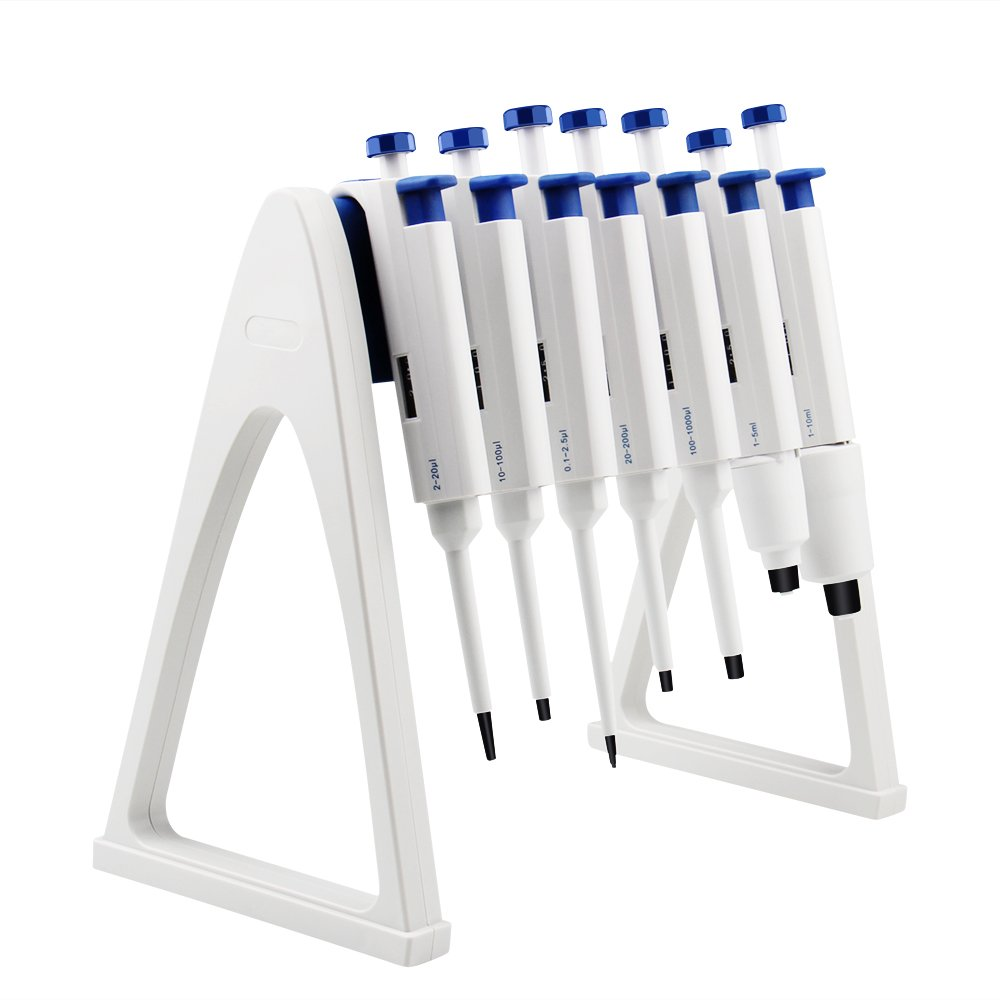 Four E's Scientific Labs Linear Pipettor Stand, Holds 7 Pipettors, 1 Year Warranty, Easy Assembly