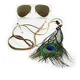Sintillia Feather Child Sunglass Strap, Glasses Chain, Eyeglass Cord, Bohemian Braided Leather Strap, Black Attachments