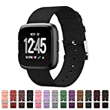 GeekSpark Fitbit Versa Bands, Woven Fabric Quick Replacement Accessories Wristbands with Classic Square Stainless Steel Clasp for Fitbit Versa Smartwatch