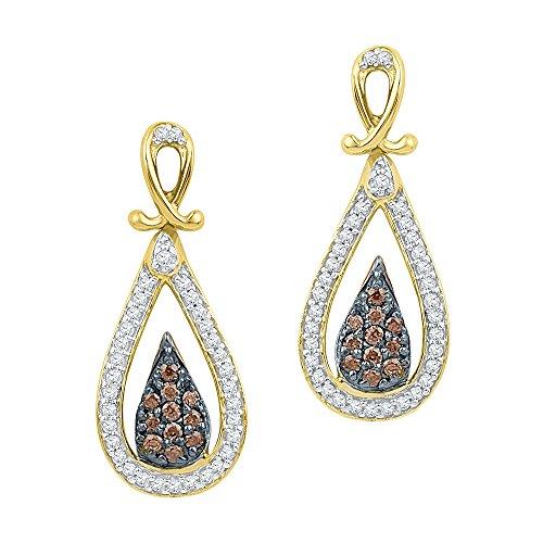 10k Yellow Gold Brown Diamond Teardrop Dangle Earrings Pear Drop Hanging Style Cluster Fancy Small 1/3CT ()
