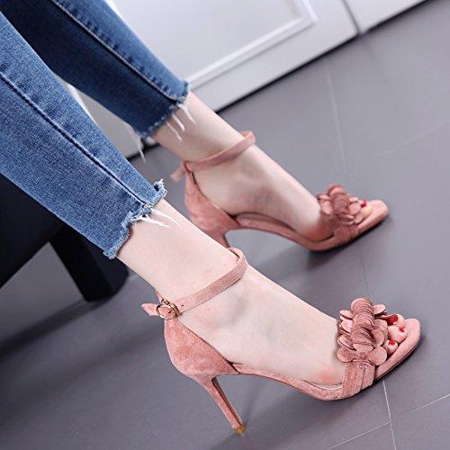 Las flores son Puntera sandalias abiertas con Thin Todo-Fósforo Palabra zapatos de la hebilla Pink