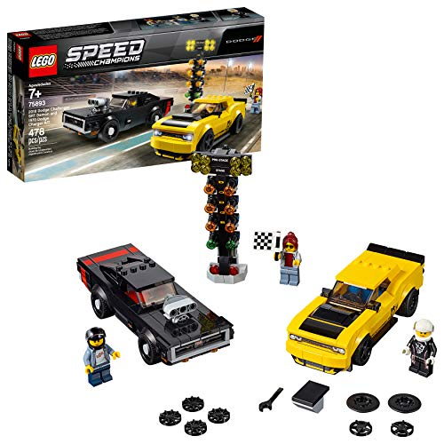 LEGO Speed Champions 2018 Dodge Challenger SRT Demon and 1970 Dodge Charger R/T 75893 Building Kit , New 2019 (478 Piece)