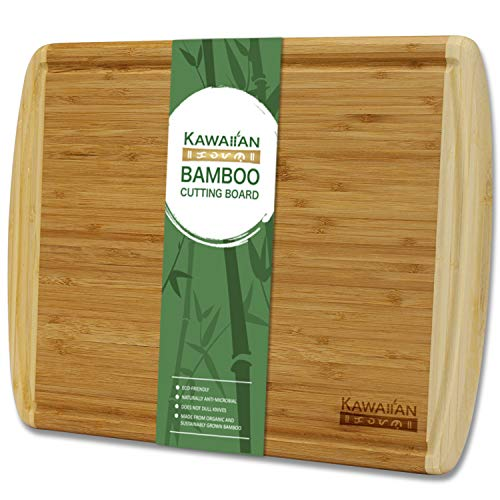 (Premium Bamboo Cutting Board for Kitchen by Kawaiian - EXTRA LARGE Chopping Board and Serving Tray with No-Mess Juice Groove - Heavy Duty Wooden Butcher Block (18 x 12.5 inches))
