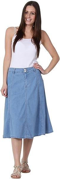 Falda Vaquera Midi falda midi de mezclilla Luz Azul MARY-8 ...